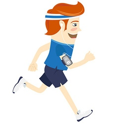 Hipster funny man running and listening music Flat vector