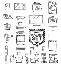 Home appliances doodle set vector