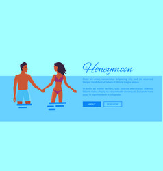 honeymoon web banner with lovers vector image