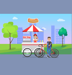 hot dog seller and customer vector image