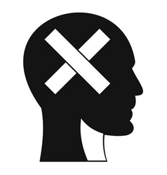 Human head with cross inside icon simple style vector