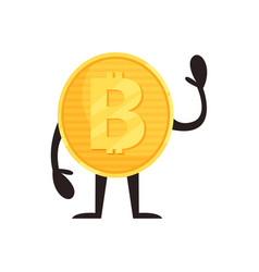 humanized bitcoin character standing and waving by vector image