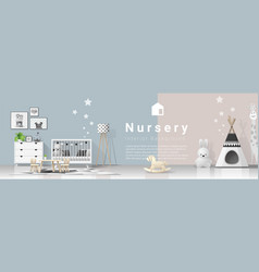 interior background with modern baby bedroom vector image