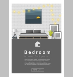 Interior design Modern bedroom banner 1 vector image