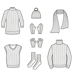 Knitted clothes and accessories vector