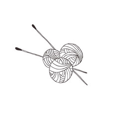 knitting needles and threads vector image