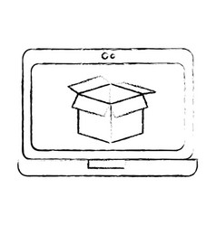 laptop computer with box vector image