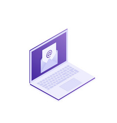 laptop with envelope on screen e-mail vector image