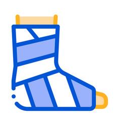 leg foot gipsum bandage orthopedic icon vector image