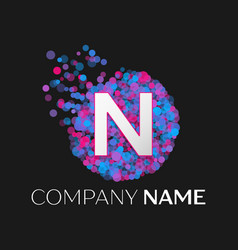 letter n logo with blue purple pink particles vector image