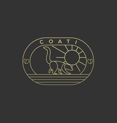 Logo can-coon walking vintage badge vector