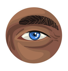 Male blue eye in circle part human body vector