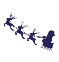 monochrome silhouette with set of three reindeers vector image