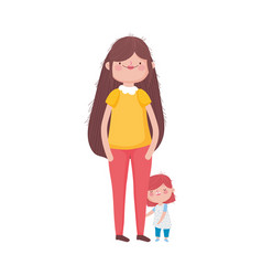 Mother and little daughter standing on white vector