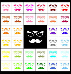 mustache and glasses sign felt-pen 33 vector image