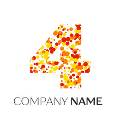 number four with orange yellow red particles vector image