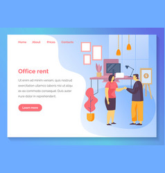 Office rent agency business service website banner vector