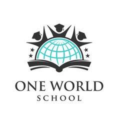 one word education logo emblem vector image