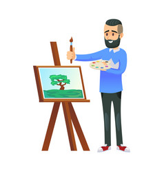 Painter at easel with picture vector