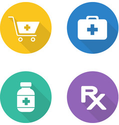 Pharmacy flat design icons set vector image