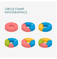 pie chart circle infographics elements 3d vector image