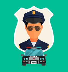 Police officer with car avatar trendy policeman vector