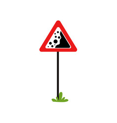 Red triangular warning sign falling stones vector