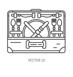Retro convertible furniture compact picnic basket vector