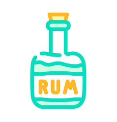 Rum drink bottle pirate color icon vector