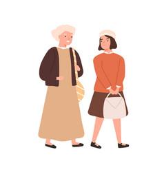 schoolgirl and grandmother going to primary school vector image