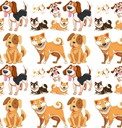 Seamless background with many dogs vector image