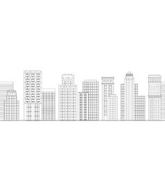 Seamless border of line skyscrapers Black and vector image