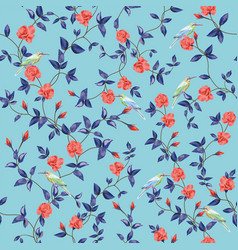 seamless pattern flower rose with birds blue vector image