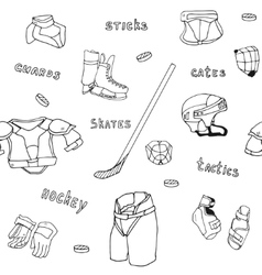 seamless pattern ice-hockey equipment sport icon vector image