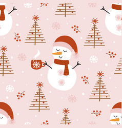 seamless pattern with cute snowman and christmas t vector image