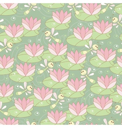 Seamless pattern with dragonflies and lotus vector