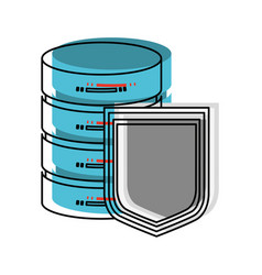 Server hosting storage and protection shield in vector