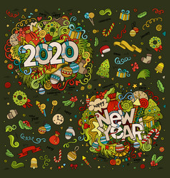 set 2020 and new year hand lettering vector image