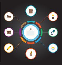 set of bureau icons flat style symbols with vector image
