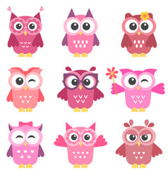 set of cute pink and red owls girls vector image