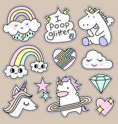 set of decorative fashion patches badges or pins vector image