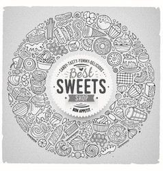 set of sweet food cartoon doodle objects symbols vector image