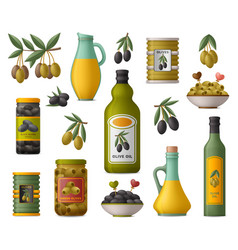 set olive products whole fruits and without vector image