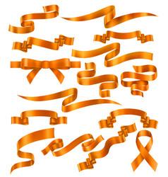 set orange ribbons vector image