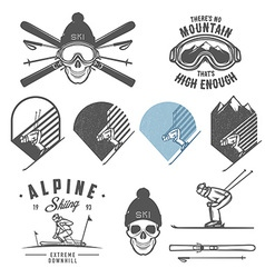 set retro ski emblems badges and design element vector image