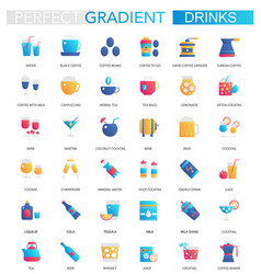 set trendy flat gradient drink icons vector image