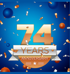 Seventy four years anniversary celebration design vector