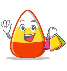Shopping candy corn character cartoon vector