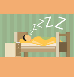 Sleeping man flat vector