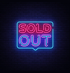 Sold out neon text design template sold vector